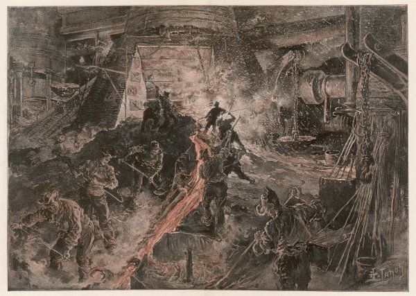 Ironworks at Birmingham - tapping a furnace and running the molten metal into pigs