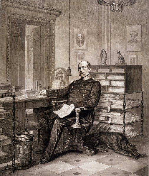 OTTO EDUARD LEOPOLD BISMARCK Prussian statesman and first chancellor of German Empire at his desk in his study