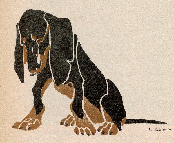 A painting in black and brown colours of a sitting Dachshund gazing at the floor with large dangling ears