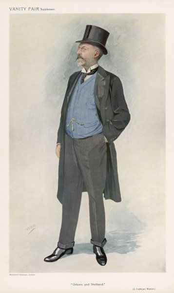 Professional gentleman (Mr J C Wason) wears a top hat, frock coat, blue waistcoat, grey striped trousers with a front crease & turn-ups, half- boots & a wing collar & cravat