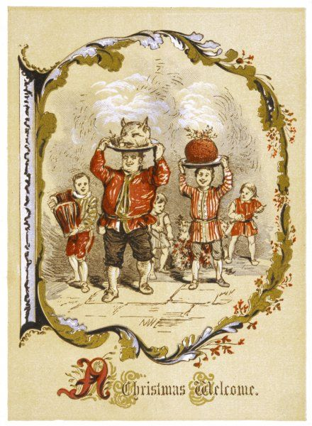 The butler carries in the traditional Boar's Head, followed by a servant-boy carrying the pudding