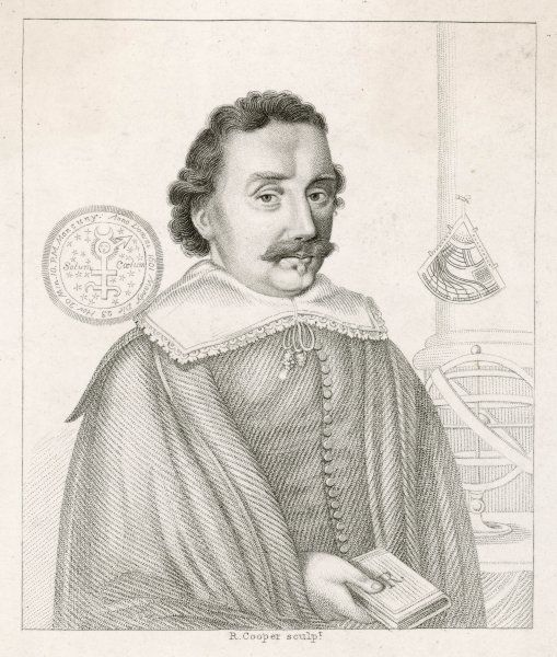 BOOKER, ASTROLOGER. JOHN BOOKER English astrologer, depicted with astronomical equipment
