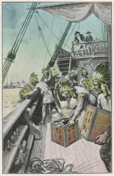 Dressed as Native Americans, rebels throw tea into Boston Harbour as a demonstration against unfair taxes