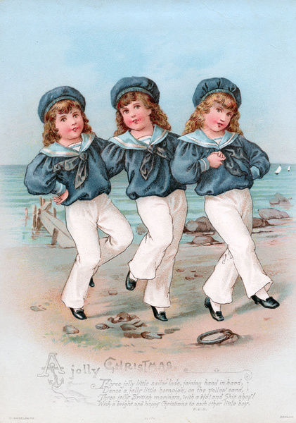 Three boys in sailor suits on a Christmas card