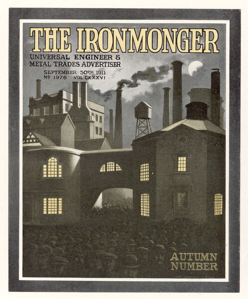 British factory exterior, as depicted on the cover of The Ironmonger magazine