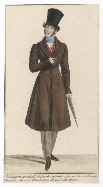 Wellington hat with spreading crown, blue silk cravat, brown frock coat with roll collar, kashmir under-waistcoat, light brown strapped pantaloons & red waistcoat with roll collar
