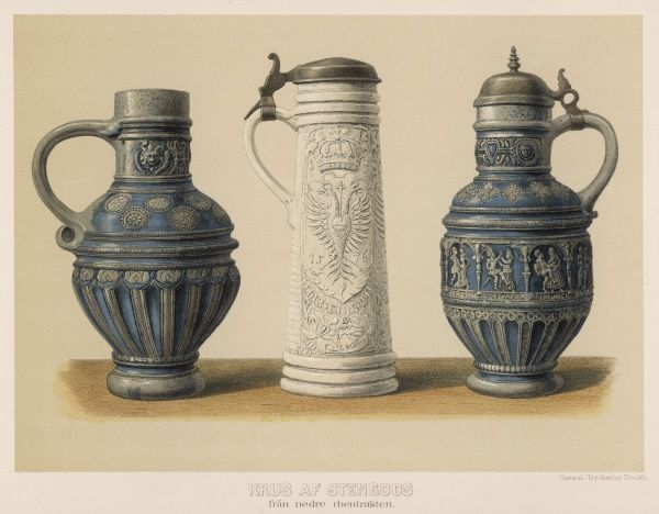 Drinking and drink vessels from the lower Rhineland - though heavy and lumpish in the German manner, they have a confident assertiveness all their own