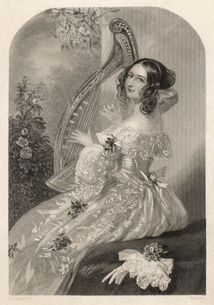 C19 HARP PLAYER. Lady (Miss Coape) plays merrily on her harp