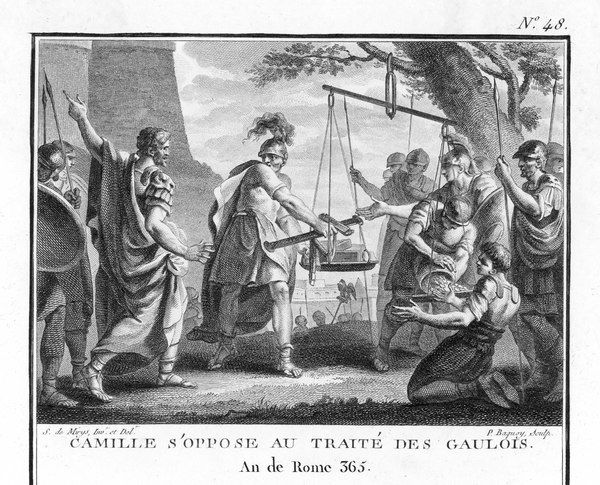 Marcus Furius Camillus, Roman consul, opposes making a treaty with the Gauls