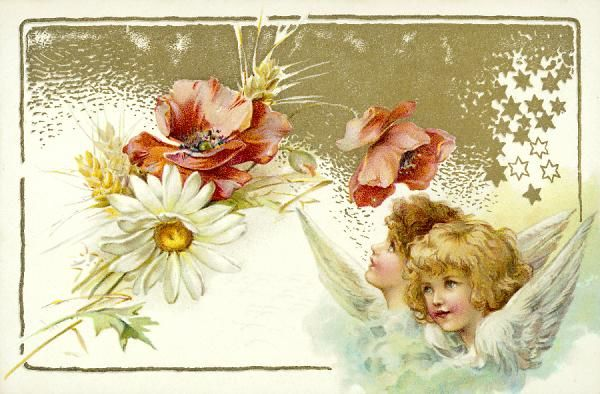 CARD WITH CHERUBS. Easter card with cherubs and flowers