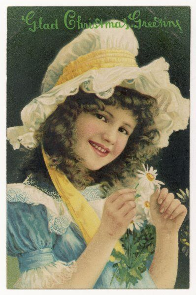 CARD WITH DAISIES. Smiling girl with daisies