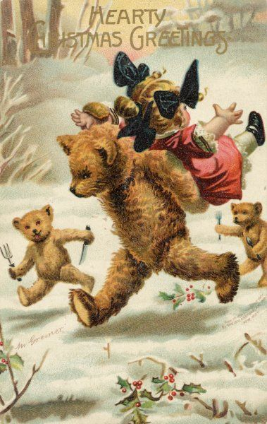CARD ; GOLDILOCKS. Goldilocks is abducted by hungry bears