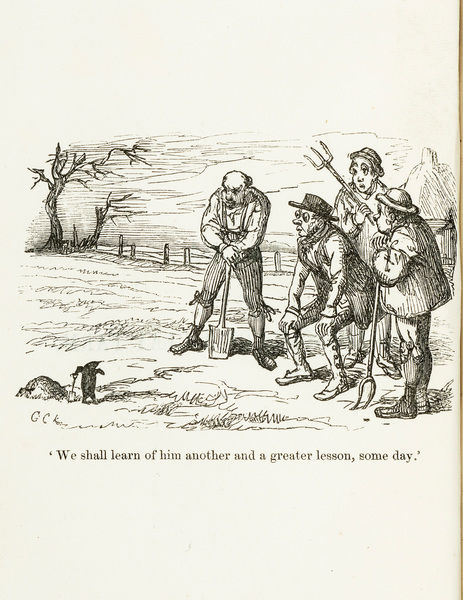Cartoon of clay-diggers / peasants and mole. Woodblock by George Cruikshank, from Chandos Wren-Hoskyns, Talpa or the Chronicles of a Clay Farm. An Agricultural Fragment(3rd edition). Frontispiece. Date: 1854