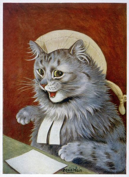 CAT AS A JUDGE/WAIN. A cat dressed as a judge