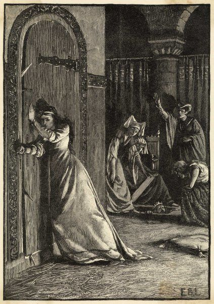 Catherine Douglas trying to save the life of King James I of Scotland. Catherine was a lady-in-waiting to the Queen. According to legend, when men arrived to assassinate James, Catherine put her arm through the staples of the door to stop them entering