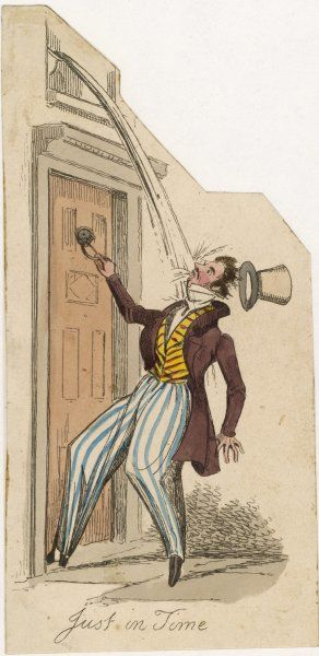 'Just in Time !' To empty the chamberpot out of the bedroom window is socially acceptable, but to do so on the head of a gentleman caller shows lack of consideration