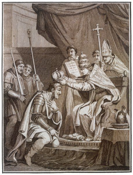 CHARLEMAGNE CROWNED. CHARLEMAGNE is crowned Emperor of the West by Pope Leo III at Rome