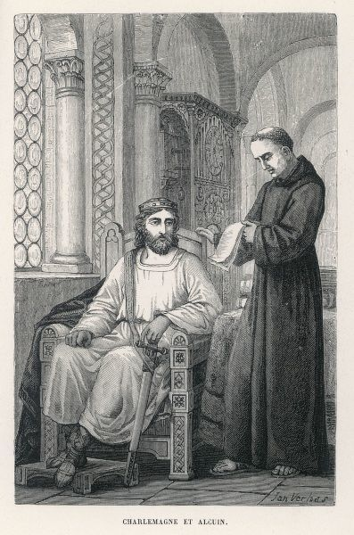 Charlemagne (Carolus Magnus. Karolus Magnus, Charles the Great), King of the Franks from 768, King of the Lombards from 774, and Emperor of the Romans from 800. Seen here with Alcuin of York, who became a scholar and teacher at the Carolingian court