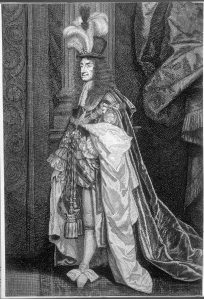 CHARLES II - King of England 1660 - 1685 In his dress robes Date: 1630 - 1685