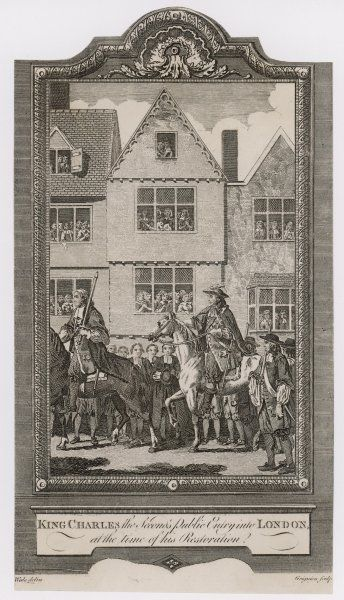 CHARLES II RESTORED. THE RESTORATION Charles II rides into London watched from the windows