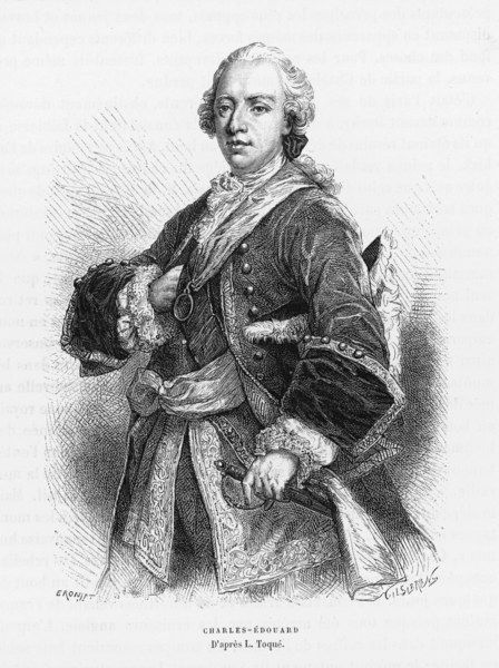 CHARLES EDWARD STUART Known as 'The Young Pretender' Bonnie Prince Charlie with frilled cuffs, sash and sword