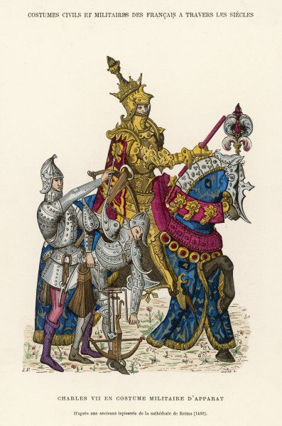 The French king Charles VII, in full armour, mounted on a horse which is also heavily armoured : beside him, a foot soldier arms a cross-bow (from a tapestry at Reims)