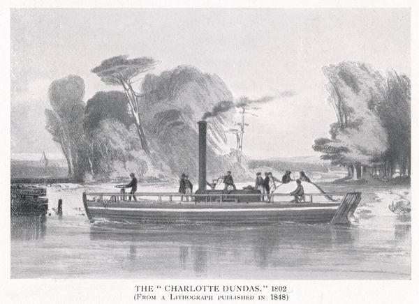 William Symington's 'Charlotte Dundas', the first practical steamboat ; sadly, his plans were not taken up and he died in poverty