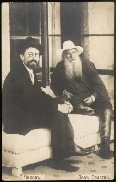 Russian playwright and writer, Anton Pavlovich Chekhov (1860-1904), left, with Russian writer, Leo Tolstoy (1828-1910)