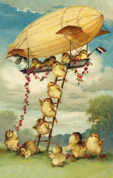 CHICK AND AIRSHIP. Chicks descend from an airship by ladder