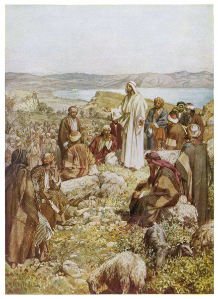 Jesus chooses his disciples, and then delivers the 'Sermon on the Mount'