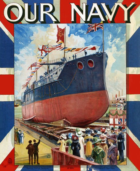 Front cover illustration by Charles John De Lacy (1856-1929) for 'Our Navy' - Christening a Ship before she is launched Date: circa 1910s