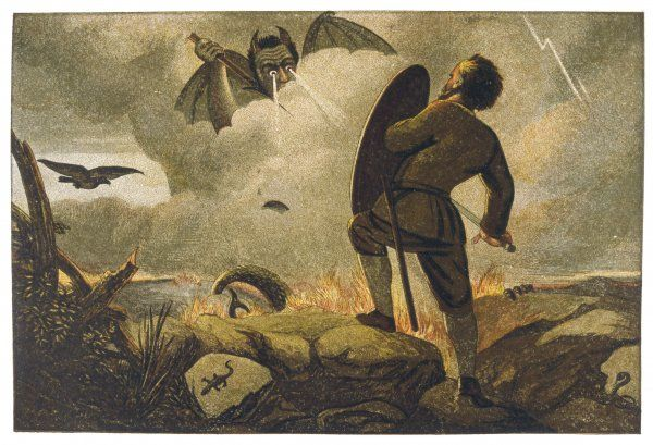A pilgrim is assailed by a demon - the fight between Christian and Apollyon