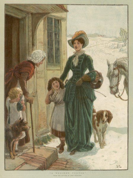 The Lady of the Manor, accompanied by her dog, brings a small basket of Christmas goodies for her tenants