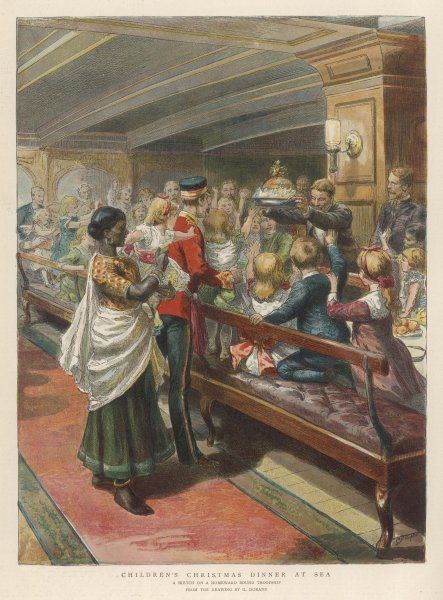 A children's party on board a troopship returning from India to Britain