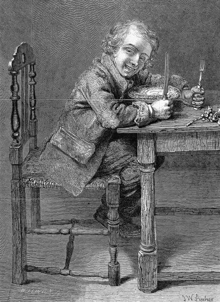 The Christmas Pie. Grinning young man or boy sitting at a table with knife