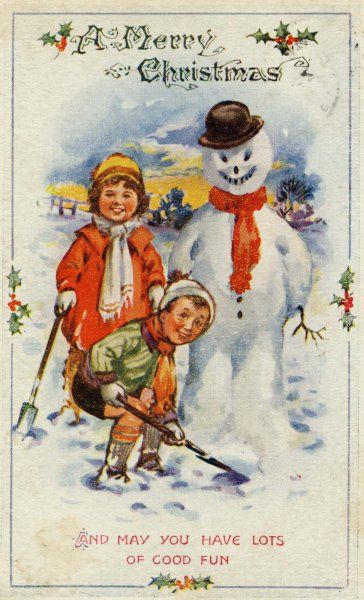 CHRISTMAS/SNOWMAN/. Grinning sister, grinning brother and grinning snowman Date: 1920