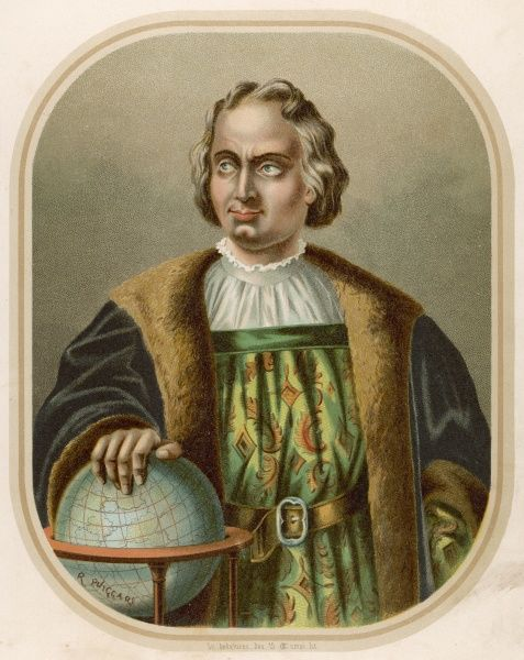 Christopher Columbus, Italian navigator, coloniser and explorer on behalf of Spain. He undertook four voyages of exploration, first reaching the American continent in 1492. Seen here with his hand on a globe