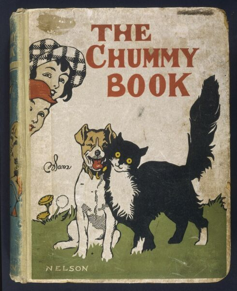 Cover of Nelson's 'The Chummy Book' ('for all boys and girls who are Good Chums') showing a dog and cat making friends and implying that the boy and girl could do likewise