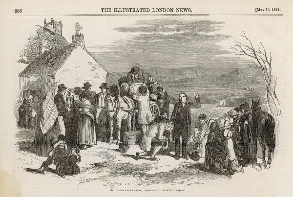 Emigrants leave their village loading a wagon with their possessions, while the Church bestows its blessing. Date: 1851
