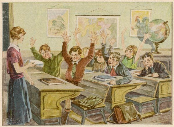 CLASSROOM SCENE. Everyone knows the answer - except the boy in the back row