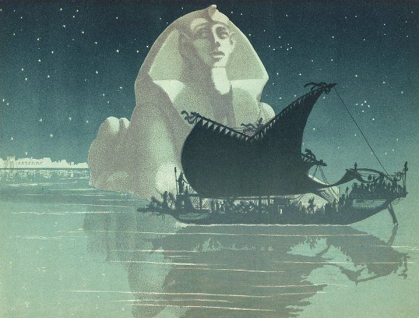 CLEOPATRA VII she sails down the Nile in her barge
