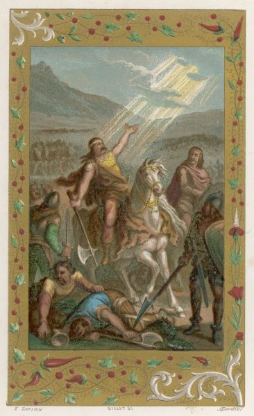 Clovis, Merovingian king of the Franks, defeats the Alemanni at TOLBIAC, near Koln, with God's help, so converts to Christianity as he promised his wife Clothilde