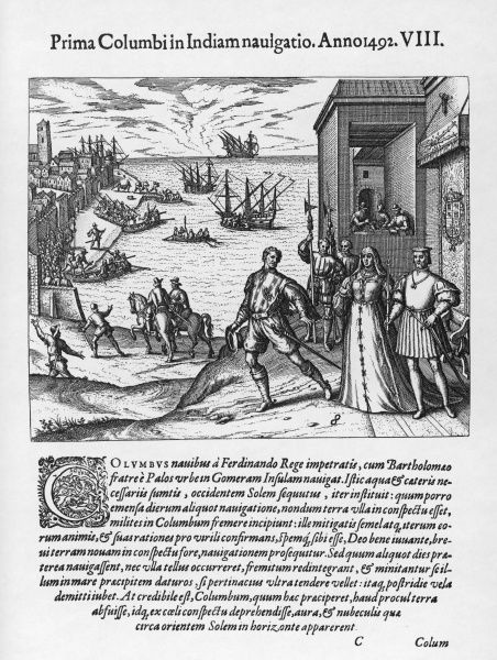 Columbus takes his leave of Ferdinand and Isabela before leaving for the New World