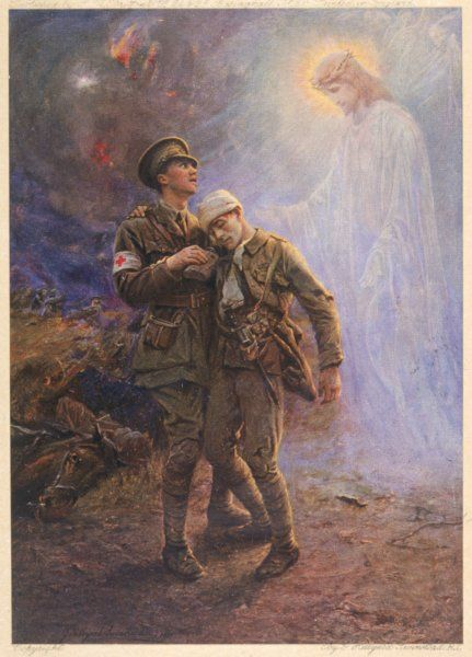 'The Comrade in White' - also known as Jesus - comforts a wounded soldier as he is assisted by a Red Cross officer