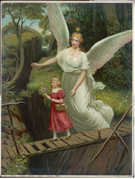 CONCEPTS/ANGELS. A Guardian Angel watches over a child as she crosses a dangerous bridge