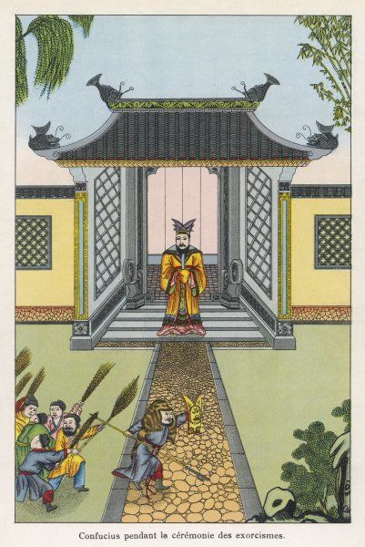 CHINA Kung Chiu, known as Confucius, supervises the ritual exorcism of evil influences from his house