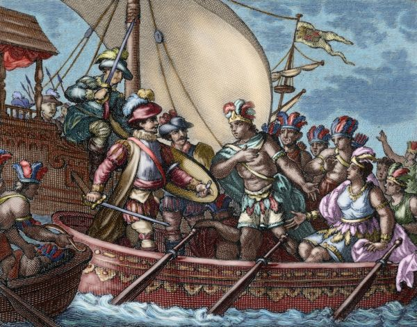 Conquest of Mexico. Capture of Cuauhtemoc. Colored engraving