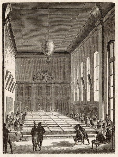 Construction of a large voltaic battery at the Ecole Polytechnique in Paris, covering 54 square metres, on the orders of Napoleon