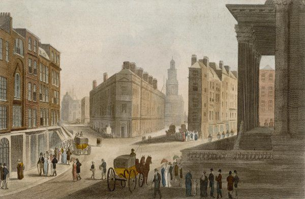 Cornhill, Lombard Street and the portico of the Mansion House Date: circa 1810