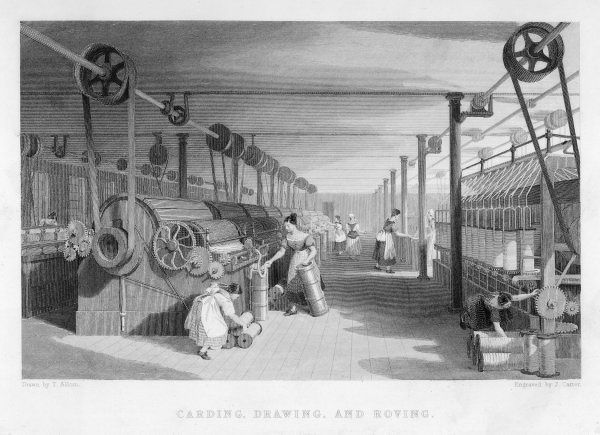 Interior of cotton mill: girls and women tend carding, drawing and roving machinery